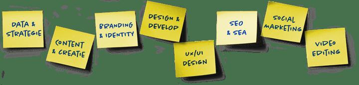 Data & Strategie, Content & Creatie, Branding & Identity, Design & Development, UX / UI Design, SEO & SEA, Social Marketing, Vidoe Editing CONCEPTERIJ