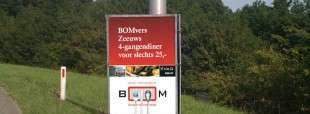 Promotieposter BOMvers voor regionale driehoeksborden op Schouwen-Duiveland, Zeeland